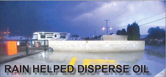 RAIN HELPED DISPERSE OIL